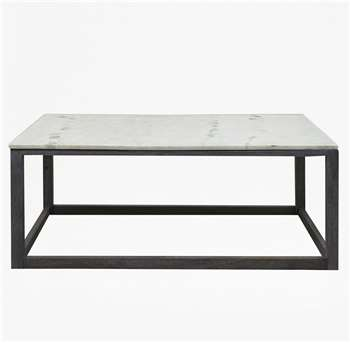 Marble Coffee Table - White/Grey (45 x 120cm)