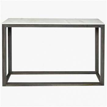 Marble Console Table - White/Grey (76 x 110cm)