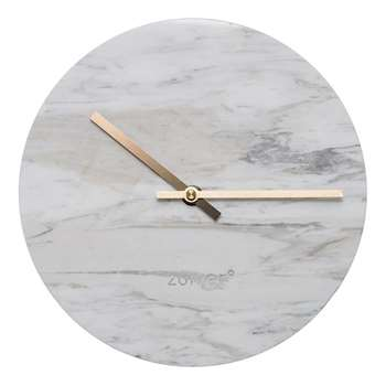 Zuiver Marble Time Wall Clock in White (Diameter 25cm)