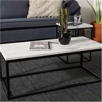 Marble Top Coffee Table with Black Steel Frame - Side Table (Width 90cm)