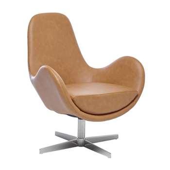 Marcel swivelling armchair tan (82 x 72cm)