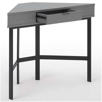 Marcell Compact Corner Desk, Grey & Black (H76 x W100 x D42cm)