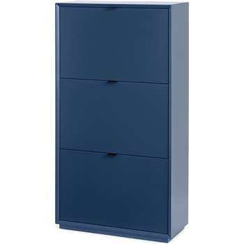 Marcell Double Shoe Storage Cabinet, Dark Blue (H122 x W64 x D25cm)
