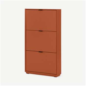 Marcell Shoe Storage Cabinet, Burnt Orange (H123 x W64 x D18cm)
