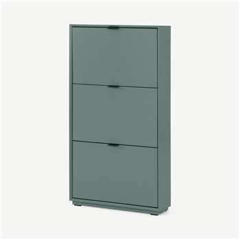 Marcell Shoe Storage Cabinet, Stone Blue (H123 x W64 x D18cm)