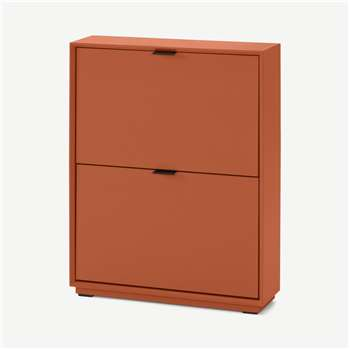 Marcell Small Shoe Storage Cabinet, Burnt Orange (H84 x W64 x D18cm)