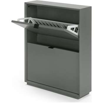 Marcell Small Shoe Storage Cabinet, Grey (83 x 64cm)