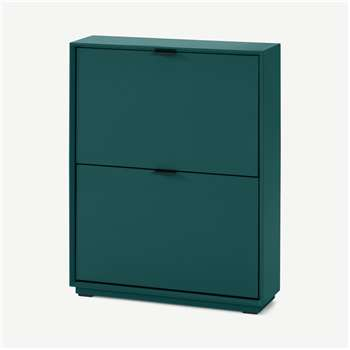 Marcell Small Shoe Storage Cabinet, Peacock Green (H84 x W64 x D18cm)