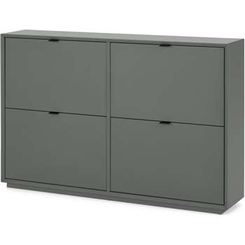 Marcell Wide Double Shoe Storage Cabinet, Grey (H84 x W126 x D25cm)