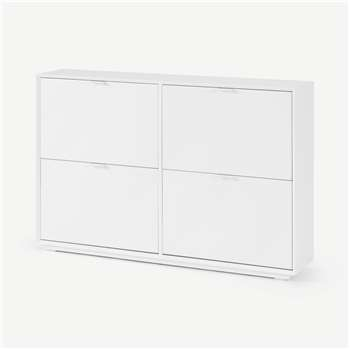 Marcell Wide Double Shoe Storage Cabinet, White (H84 x W126 x D25cm)