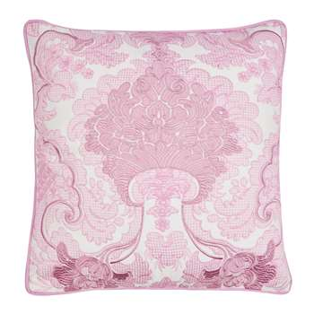 Marcette Embroidered Dusky Rose Cushion (H43 x W43cm)