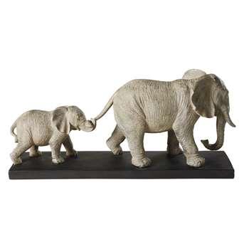 MARCHE DES ELEPHANTS - Figurine with 2 Grey Elephants on a Black Metal Base (H47.5 x W20.5 x D12cm)