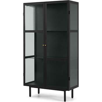 Marden Cabinet, Charcoal Grey and Glass (H170 x W90 x D40cm)