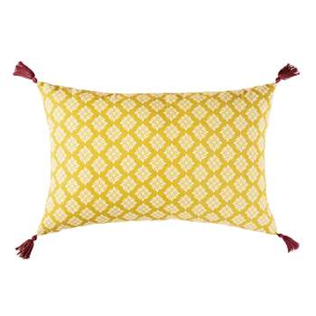MARGA Outdoor Cushion in Yellow Cotton with Brown Pom Poms and Print (H30 x W50 x D10cm)