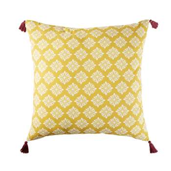 MARGA Outdoor Floor Cushion in Yellow Cotton with Graphic Print (H80 x W80 x D0cm)