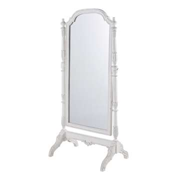 MARGAUX Cheval Mirror in White Mango Wood with Mouldings (H169 x W83 x D52cm)
