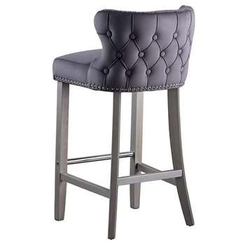 Margonia Bar Stool – Storm Grey with Pewter Legs (H94 x W48 x D50cm)