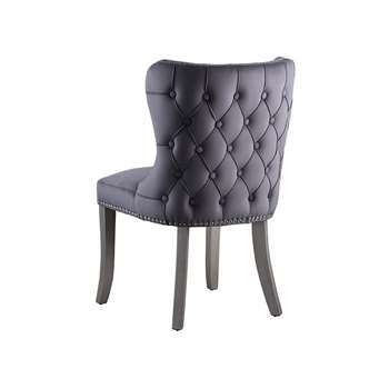 Margonia Dining Chair – Storm Grey with Pewter Legs (H92 x W57 x D65cm)
