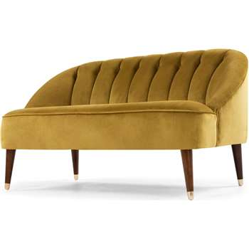 Margot 2 Seater Sofa, Antique Gold Velvet (72 x 130cm)