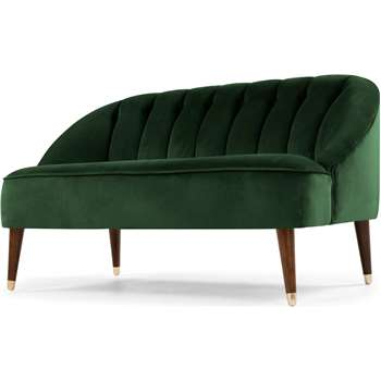 Margot 2 Seater Sofa, Forest Green Velvet (H72 x W130 x D73cm)