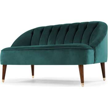 Margot 2 Seater Sofa, Peacock Blue Velvet (72 x 130cm)