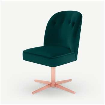 Margot Office Chair, Seafoam Blue Velvet & Copper (H86 x W49 x D61cm)