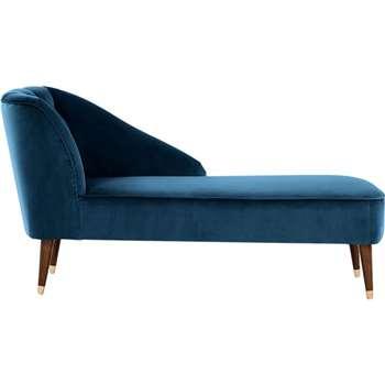 Margot Right Hand Facing Chaise, Midnight Blue Velvet (77 x 68cm)