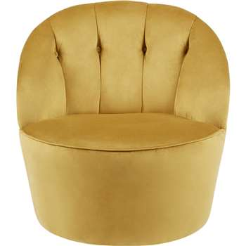 Margot Swivel Accent Chair, Antique Gold Velvet (72 x 67cm)