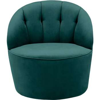 Margot Swivel Accent Chair, Peacock Blue Velvet (72 x 67cm)