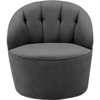 Margot Swivel Accent Chair, Pewter Grey Velvet (72 x 67cm)