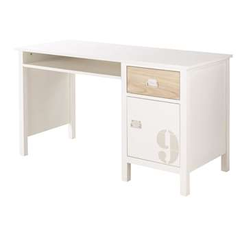 MARIN - White Pine 1-Drawer 1-Door Desk (H75 x W130 x D57cm)