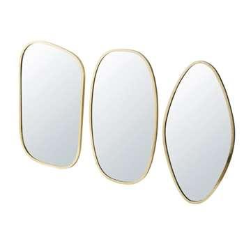 MARINA - 3 Gold Metal Mirrors (H59 x W37 x D2cm)