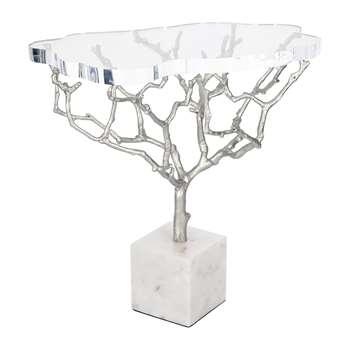 Marinette Saint Tropez - Acrylic Tree Side Table - Shiny Nickel (H50 x W50 x D36cm)