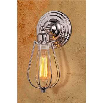 Marius Chrome Industrial Sconce Wall Light (29 x 12cm)