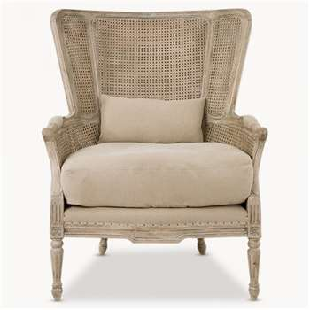 Marlborough Oak Salon Bergere Chair with Linen Cushions (107 x 81cm)
