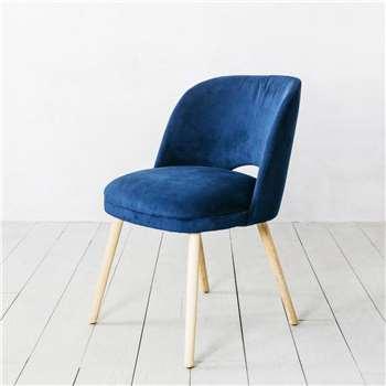 Marley Navy Velvet Chair (H76 x W49 x D59cm)
