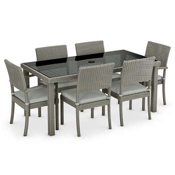 Marlow Large Table & 6 Chair Set, Grey (H76 x W90 x D170cm)