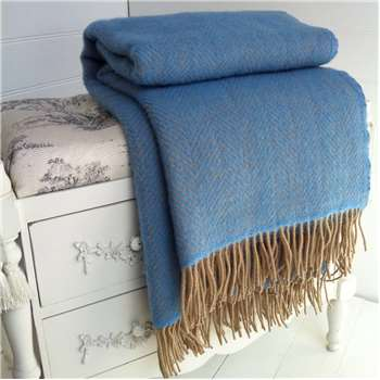 Marquis & Dawe Blue And Wheat Herringbone Wool Throw (H150 x W183cm)