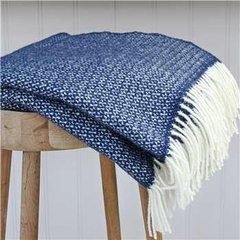 Marquis & Dawe Slate Blue And Cream Wool Throw (150 x 183cm)