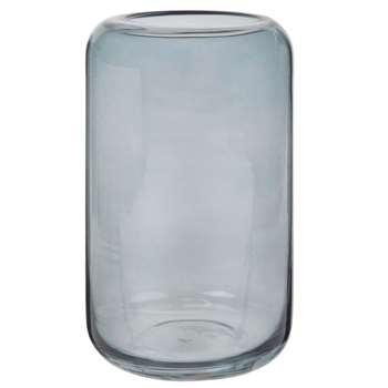 MARSALA - Grey-Blue Tinted Glass Vase (H20 x W12 x D12cm)