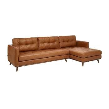 Marseille leather right hand corner sofa tan (67 x 287cm)