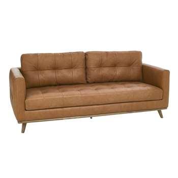 Marseille leather three seater sofa tan (67 x 198cm)