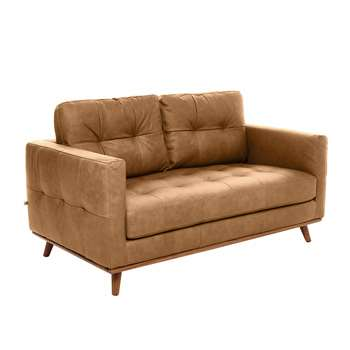 Marseille leather two seater sofa tan (67 x 154cm)