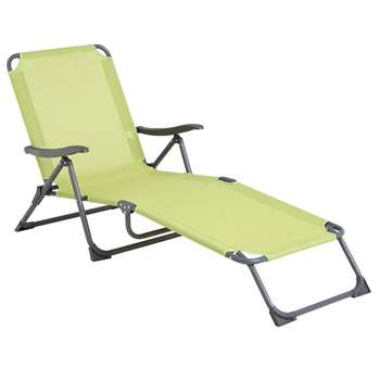 Marseilles 5-Position Folding Sun Lounger, Green (88 x 69 x 158cm)