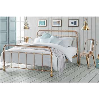 Martino Copper and Brass Dormitory Style Bed, Double (H110 x W145 x D200cm)