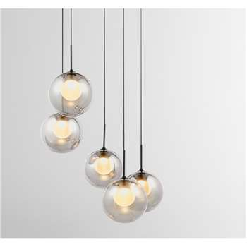 Masako Chandelier Pendant Light, Smoked & Opal Glass (H100 x W38 x D38cm)