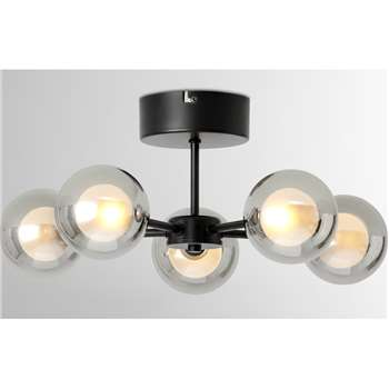 Masako LED 5 Light Flush Ceiling Lamp, Smoked & Opal Glass (H20 x W45 x D45cm)