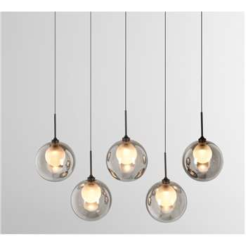 Masako LED glass Diner Pendant, Smoked and Opal Glass (H115 x W60 x D12cm)