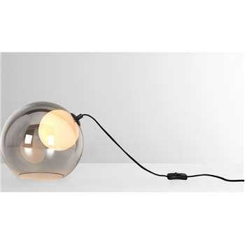 Masako LED Table Lamp,  Smoked and Opal Glass (H22 x W25 x D25cm)