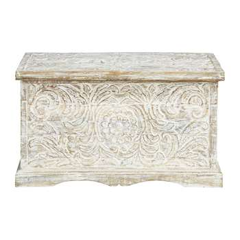 MASALA Distressed solid mango wood carved Indian chest in white (45 x 79cm)
